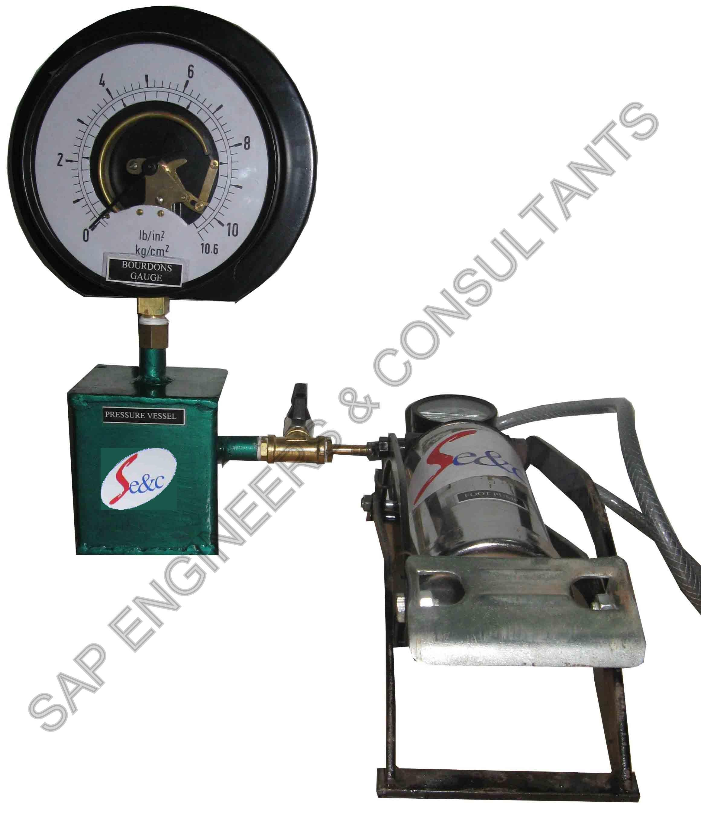 Pressure measurement using bourdon gauge & footpump